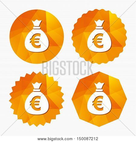 Money bag sign icon. Euro EUR currency symbol. Triangular low poly buttons with flat icon. Vector
