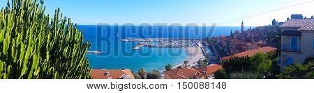 Beautiful Panoramic View on the Bay of Menton French Riviera