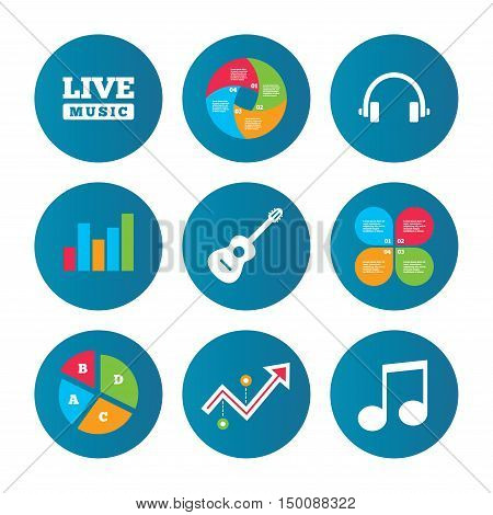 Business pie chart. Growth curve. Presentation buttons. Musical elements icons. Musical note key and Live music symbols. Headphones and acoustic guitar signs. Data analysis. Vector