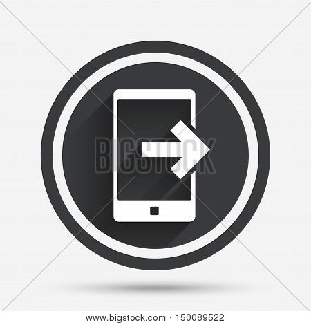 Outcoming call sign icon. Smartphone symbol. Circle flat button with shadow and border. Vector