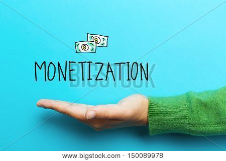 Monetization Concept With Hand