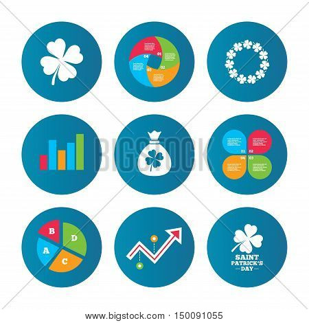 Business pie chart. Growth curve. Presentation buttons. Saint Patrick day icons. Money bag with clover sign. Wreath of quatrefoil clovers. Symbol of good luck. Data analysis. Vector