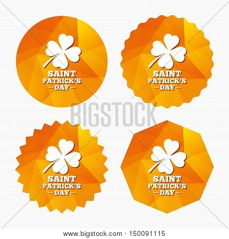 Clover with four leaves sign icon. Saint Patrick quatrefoil luck symbol. Triangular low poly buttons with flat icon. Vector