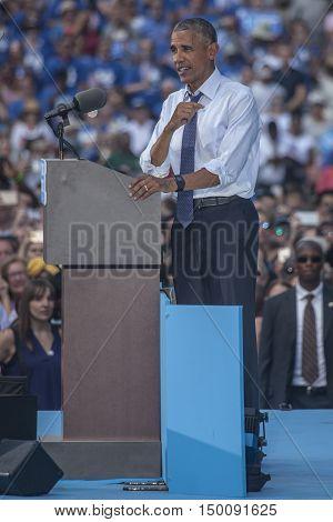 13 September 2016 - Philadelphia USA - President Barack Obama campaigns for Hillary Clinton in Philadelphia.
