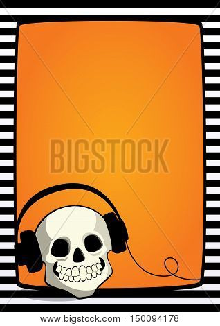 Vector Halloween orange background with black and white striped frame and cartoon illustration of a skull with headphones. Vertical A4 format, free place for text.