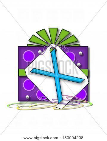 Alphabet Gift Wrapped X