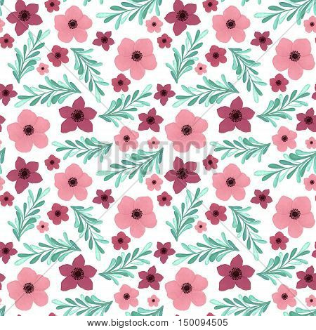 Burgundy and Pink Flowers with Light Blue Leaves Vector Seamless Pattern