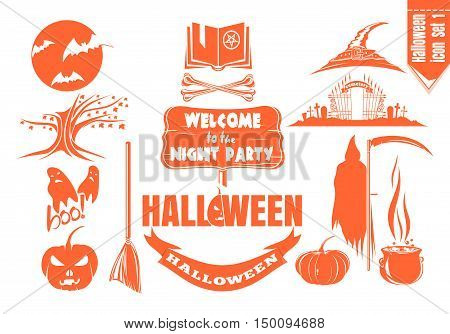 Monochrome orange flat icon set for Halloween night party. Vector illustration