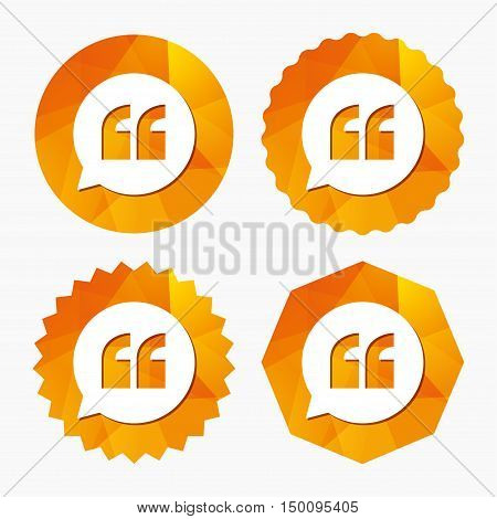 Quote sign icon. Quotation mark in speech bubble symbol. Double quotes. Triangular low poly buttons with flat icon. Vector