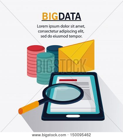 Smartphone document envelope and lupe icon. Big data center base and web hosting theme. Colorful design. Vector illustration