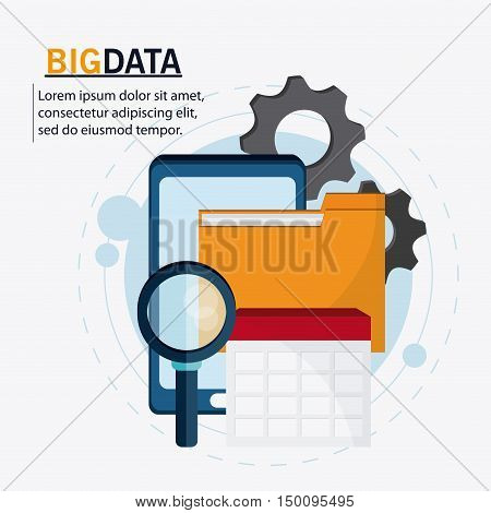Smartphone file calendar gears and lupe icon. Big data center base and web hosting theme. Colorful design. Vector illustration