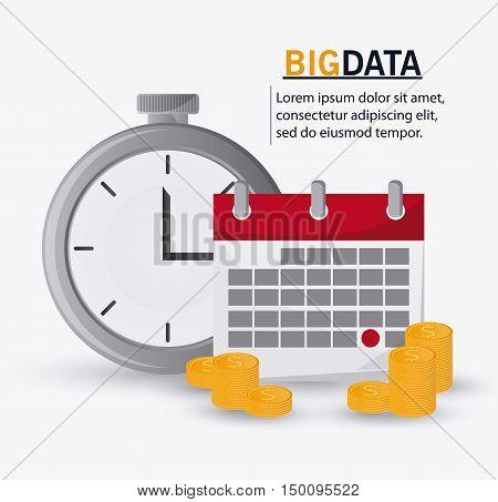 Calendar chronometer coins icon. Big data center base and web hosting theme. Colorful design. Vector illustration