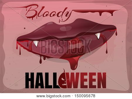 Red feminine lips in blood. Bloody Halloween. Vector vintage illustration