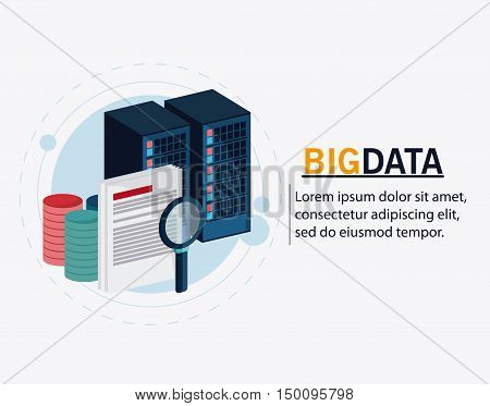 Document and lupe icon. Big data center base and web hosting theme. Colorful design. Vector illustration