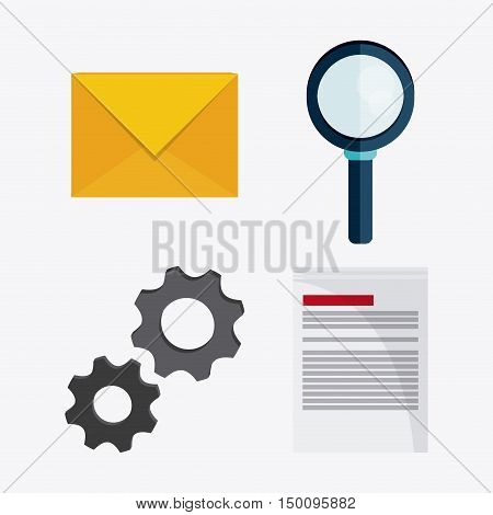 Document gears envelope and lupe icon. Big data center base and web hosting theme. Colorful design. Vector illustration