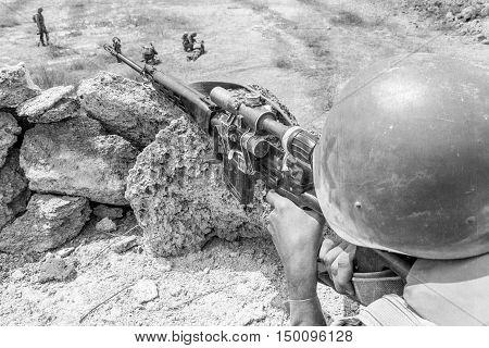 Soviet paratrooper in Afghanistan during the Soviet Afghan War