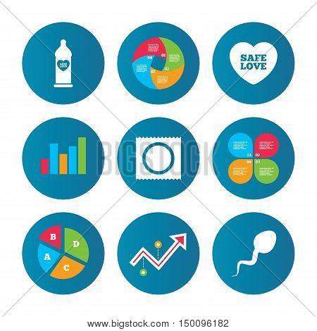 Business pie chart. Growth curve. Presentation buttons. Safe sex love icons. Condom in package symbol. Sperm sign. Fertilization or insemination. Data analysis. Vector
