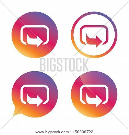 Action sign icon. Share symbol. Gradient buttons with flat icon. Speech bubble sign. Vector