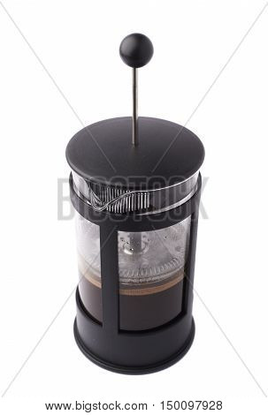French press pot coffee maker filled with hot beverage composition isolated over the white background