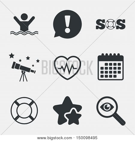 SOS lifebuoy icon. Heartbeat cardiogram symbol. Swimming sign. Man drowns. Attention, investigate and stars icons. Telescope and calendar signs. Vector