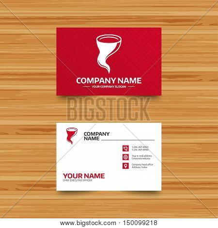 Business card template. Storm sign icon. Gale hurricane symbol. Destruction and disaster from wind. Insurance symbol. Phone, globe and pointer icons. Visiting card design. Vector
