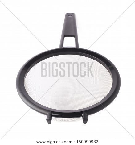 Single metal sieve colander over white isolated background