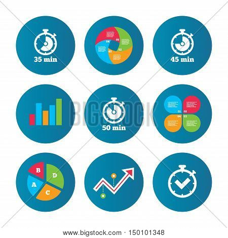 Business pie chart. Growth curve. Presentation buttons. Timer icons. 35, 45 and 50 minutes stopwatch symbols. Check or Tick mark. Data analysis. Vector