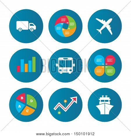 Business pie chart. Growth curve. Presentation buttons. Transport icons. Truck, Airplane, Public bus and Ship signs. Shipping delivery symbol. Air mail delivery sign. Data analysis. Vector