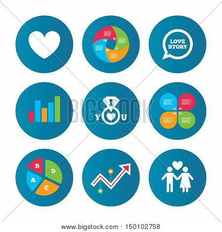 Business pie chart. Growth curve. Presentation buttons. Valentine day love icons. I love you ring symbol. Couple lovers sign. Love story speech bubble. Data analysis. Vector