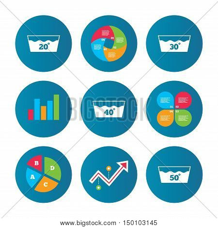 Business pie chart. Growth curve. Presentation buttons. Wash icons. Machine washable at 20, 30, 40 and 50 degrees symbols. Laundry washhouse signs. Data analysis. Vector