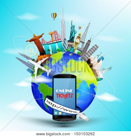 Vector illustration of Travel ticket online the world concept with address bar through smartphone