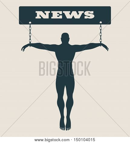Man chained to news word. Unhealth addicition metaphor. Vector illustration.