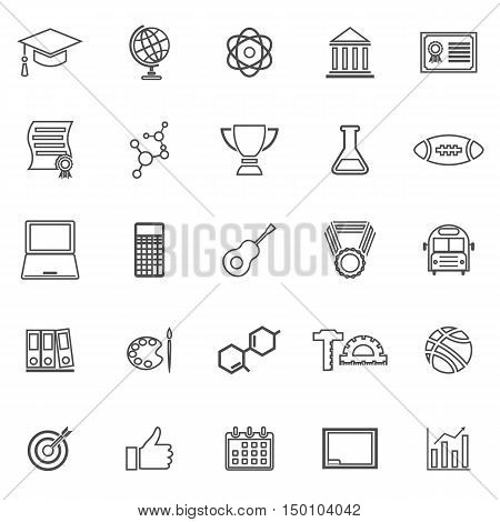 College line icons on white background, stock vector