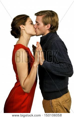 Young and in love married couple kissing