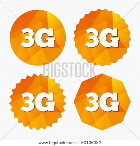 3G sign icon. Mobile telecommunications technology symbol. Triangular low poly buttons with flat icon. Vector