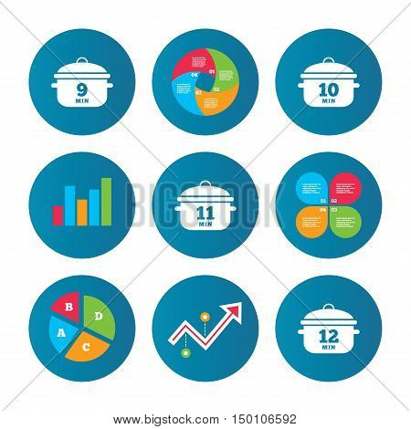 Business pie chart. Growth curve. Presentation buttons. Cooking pan icons. Boil 9, 10, 11 and 12 minutes signs. Stew food symbol. Data analysis. Vector