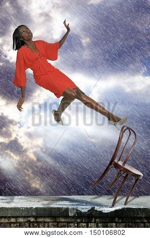 Beautiful black woman as she slips trips and falls off of a chair