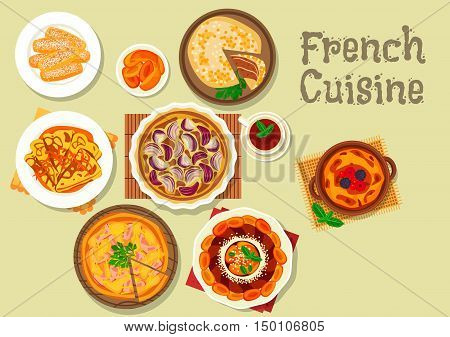 French cuisine dessert and pie icon with onion pie, meat pie with ham, pancake with orange sauce, apricot cake, creme brulee with berries, almond hard biscuit, stuffed whole cabbage with meat