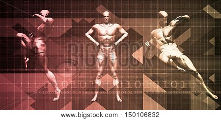 Body Combat Sport Design with Men in Fighting Stance 3d Render