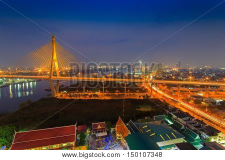 The Bhumibol Bridge also known as the Industrial Ring Road Bridge at twilight Bangkok Thailand.