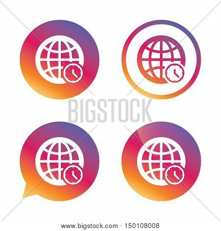 World time sign icon. Universal time globe symbol. Gradient buttons with flat icon. Speech bubble sign. Vector