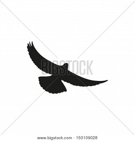 Simple black one dove symbol. Wingspan is pigeon on a white background