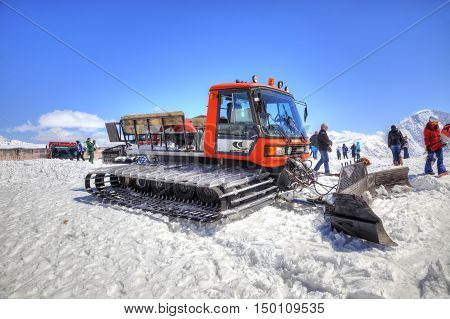 CAUCASUS RUSSIA - May 01.2015: Snow grooming at first level on the of mountain Elbrus