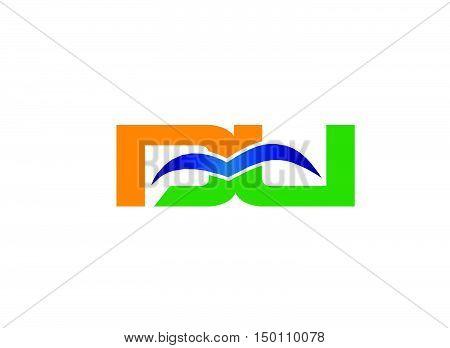 DU company linked letter logo design vector template