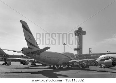 NEW YORK - MARCH 22, 2016: El Al Boeing 747 at JFK Airport. El Al is the flag carrier of Israel.