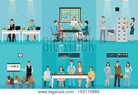 Business people working in office office workers taking on phone copying file presentation meeting teamwork office people life Cartoon character flat design vector illustration.