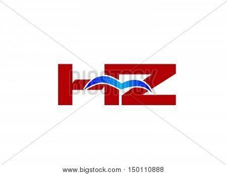 HZ Logo. Vector Graphic Branding Letter Element