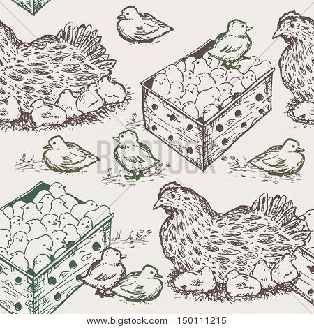 Hen with chicks seamless pattern vector illustration
