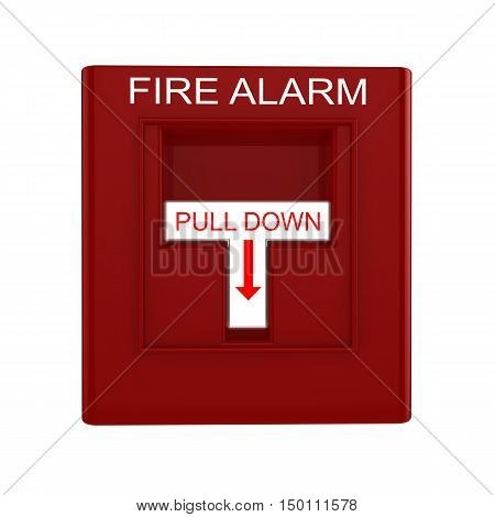 Red fire alarm switch with pull down lever isolated on white 3D illustration