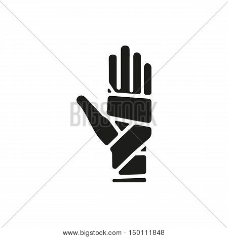 Black simple Medical Hand bandaging icon isolated on white background. Elements for company print products page and web decor. Vector illustration.